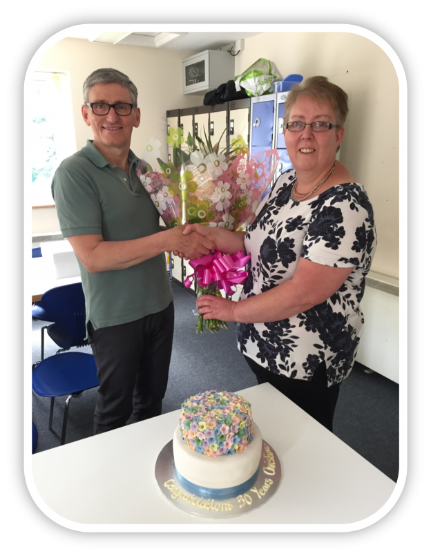Aran Hall School HR Cooridnator celebrates 30 years service