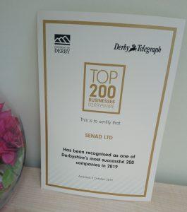 Deryshire Top 200 companie award