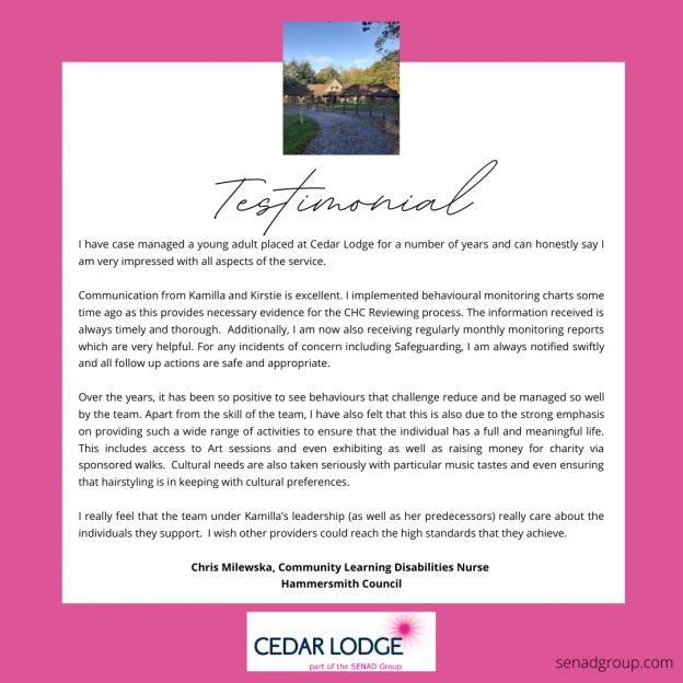 Testimonial Cedar Lodge